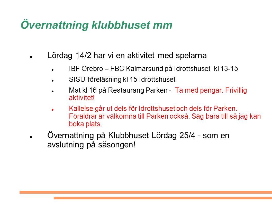 Övernattning klubbhuset mm Lördag 14/2 har vi en aktivitet med spelarna IBF Örebro – FBC Kalmarsund på Idrottshuset kl 13-15 SISU-föreläsning kl 15 Idrottshuset Mat kl 16 på Restaurang Parken - Ta med pengar.