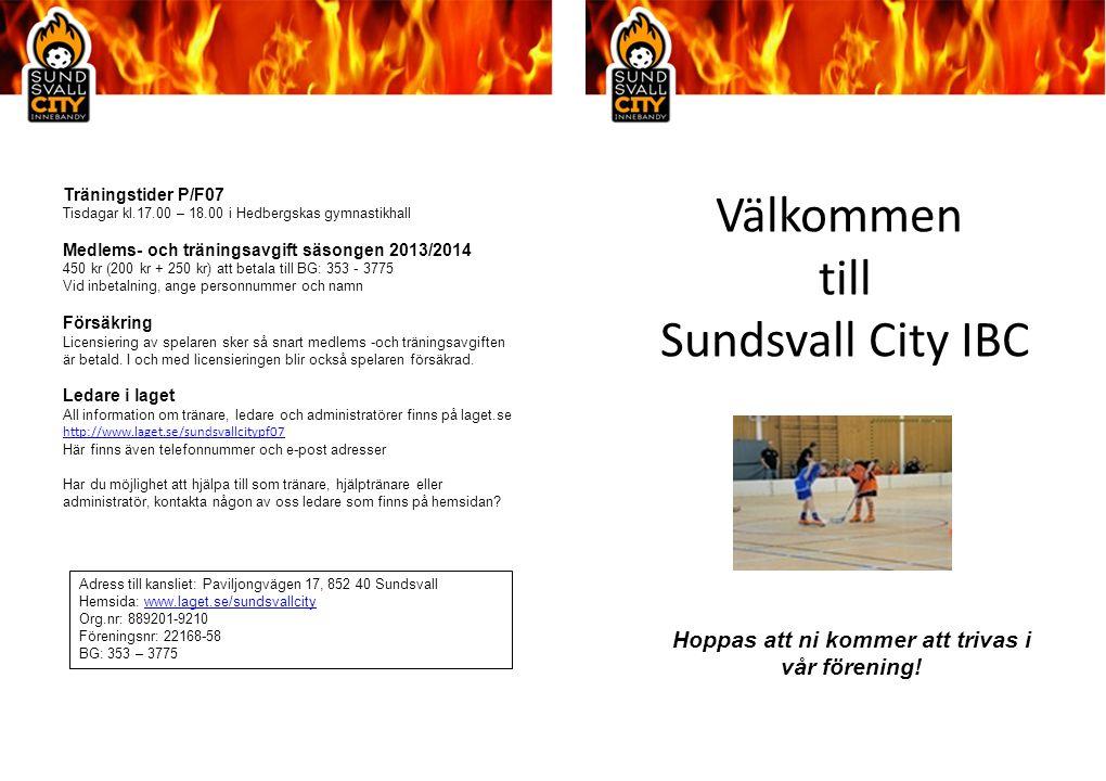 Välkommen till Sundsvall City IBC Träningstider P/F07 Tisdagar kl.17.00 – 18.00 i Hedbergskas gymnastikhall Medlems- och träningsavgift säsongen 2013/