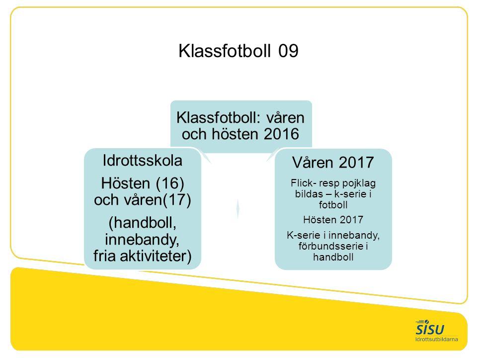 Klassfotboll 09 Organisation – Föräldrar 1.Tränare – Micke (Amanda Ö) och Jonny (Neo B) huvudansvar för att planera träningarna.