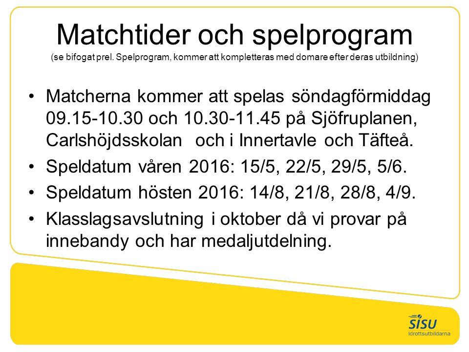 Matchtider och spelprogram (se bifogat prel.