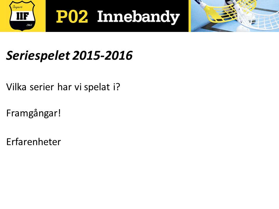 Seriespelet 2015-2016 Vilka serier har vi spelat i Framgångar! Erfarenheter