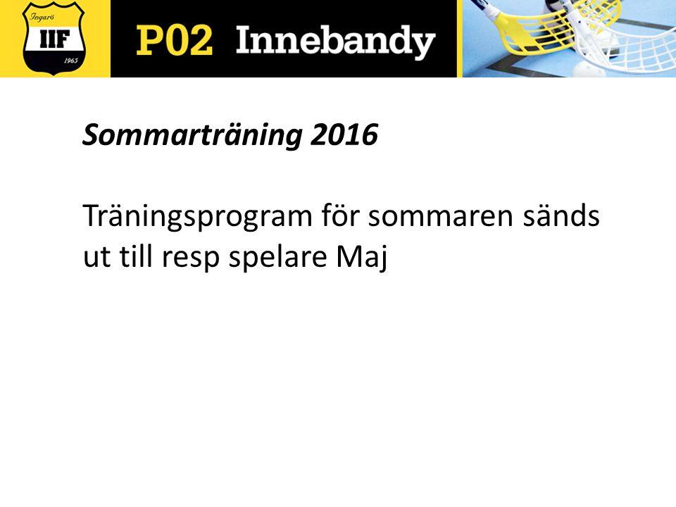 Sommarträning 2016 Träningsprogram för sommaren sänds ut till resp spelare Maj