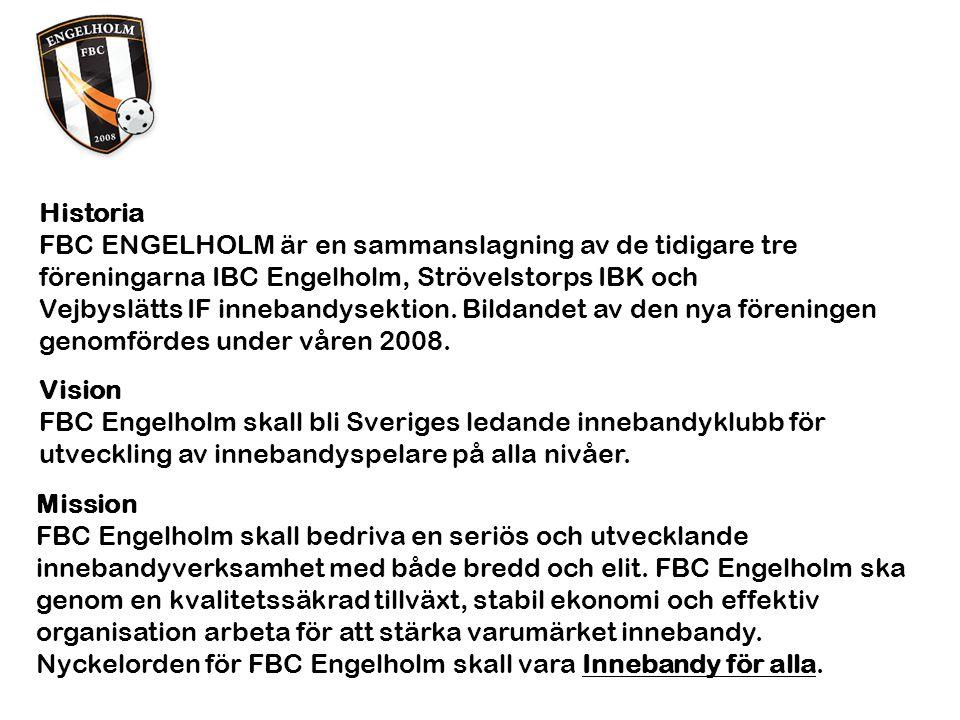 Historia FBC ENGELHOLM är en sammanslagning av de tidigare tre föreningarna IBC Engelholm, Strövelstorps IBK och Vejbyslätts IF innebandysektion.