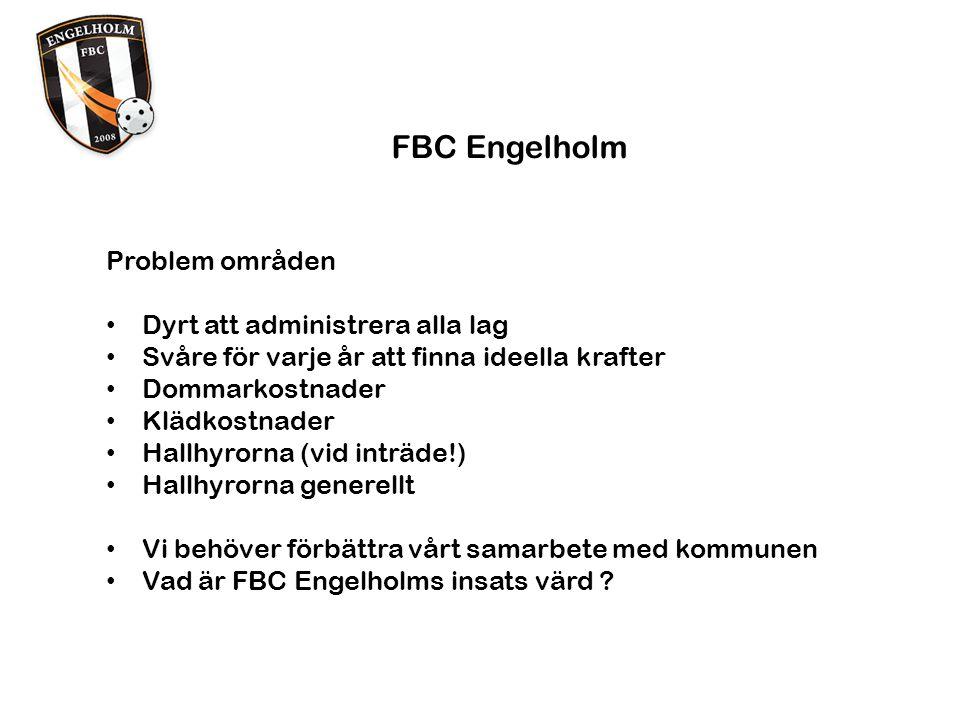 FBC Engelholm Problem områden Dyrt att administrera alla lag Svåre för varje år att finna ideella krafter Dommarkostnader Klädkostnader Hallhyrorna (vid inträde!) Hallhyrorna generellt Vi behöver förbättra vårt samarbete med kommunen Vad är FBC Engelholms insats värd