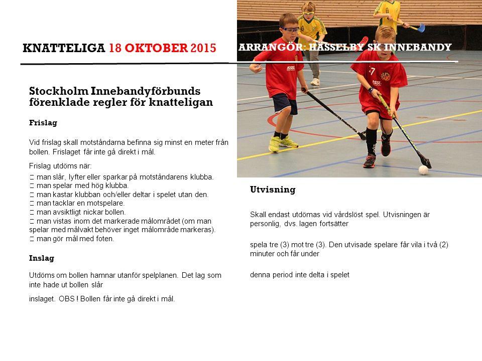 ARRANGÖR: HÄSSELBY SK INNEBANDY Stockholm Innebandyförbunds förenklade regler för knatteligan Frislag Vid frislag skall motståndarna befinna sig minst en meter från bollen.