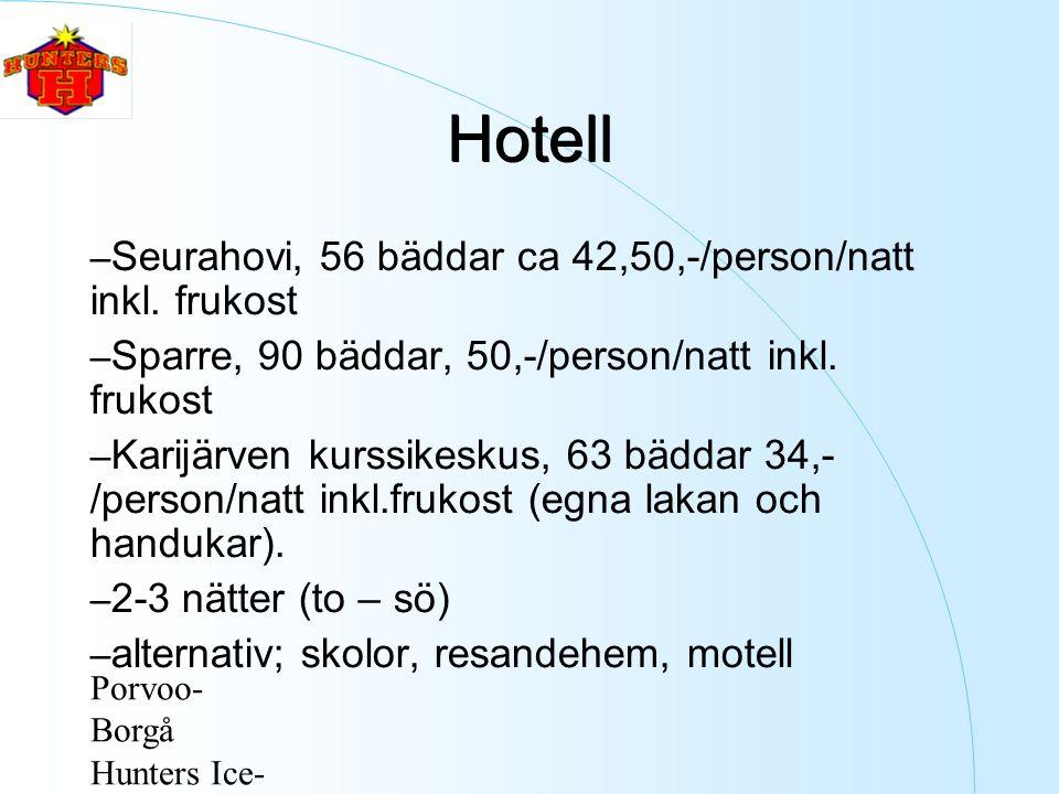 Porvoo- Borgå Hunters Ice- Hockey ry Hotell – Seurahovi, 56 bäddar ca 42,50,-/person/natt inkl.