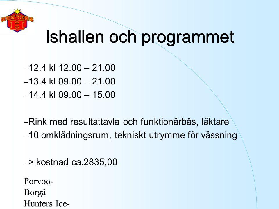Porvoo- Borgå Hunters Ice- Hockey ry Ishallen och programmet – 12.4 kl 12.00 – 21.00 – 13.4 kl 09.00 – 21.00 – 14.4 kl 09.00 – 15.00 – Rink med resultattavla och funktionärbås, läktare – 10 omklädningsrum, tekniskt utrymme för vässning – > kostnad ca.2835,00