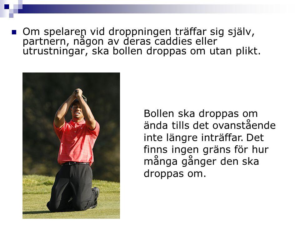 Om spelaren vid droppningen träffar sig själv, partnern, någon av deras caddies eller utrustningar, ska bollen droppas om utan plikt. Bollen ska dropp