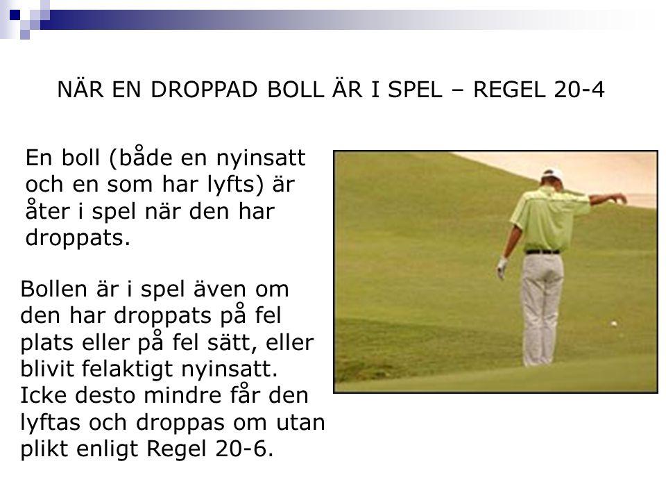 NÄR EN DROPPAD BOLL ÄR I SPEL – REGEL 20-4 En boll (både en nyinsatt och en som har lyfts) är åter i spel när den har droppats. Bollen är i spel även