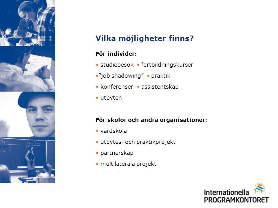 Projekt – regionalt samarbete Comenius regio (från 2008) Alla organisationer som sysslar med skolutbildning Syfte: främja regionalt samarbete Mer information kommer under 2007