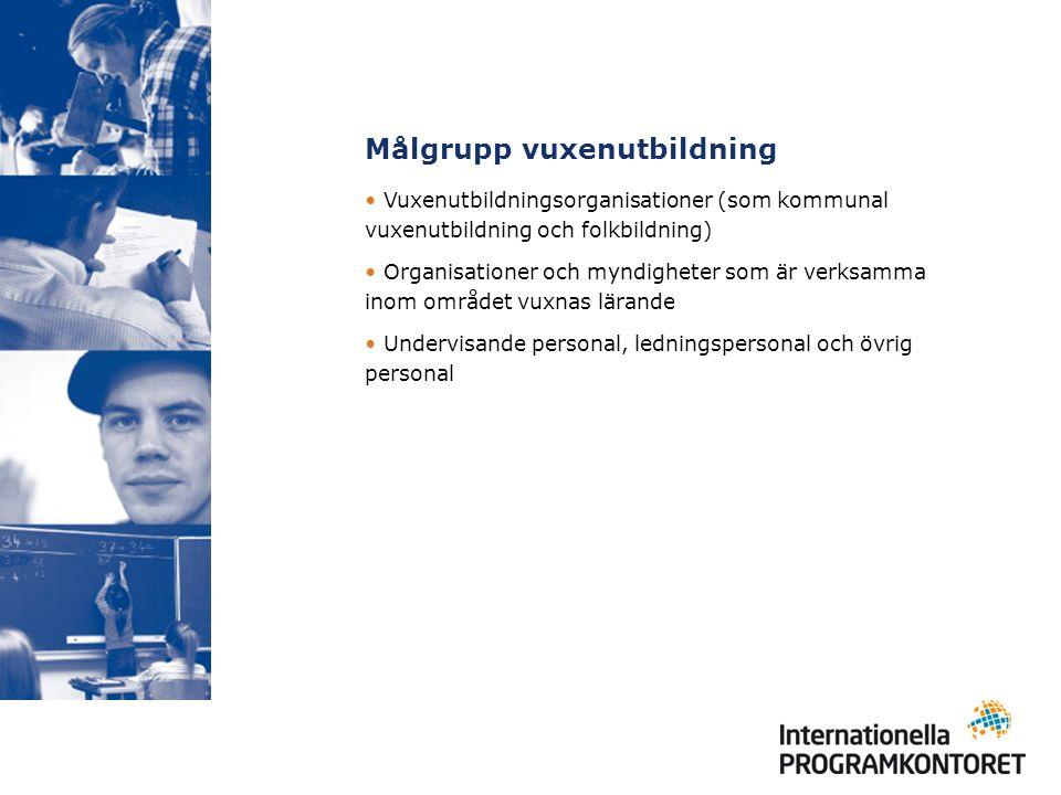 Målgrupp vuxenutbildning Vuxenutbildningsorganisationer (som kommunal vuxenutbildning och folkbildning) Organisationer och myndigheter som är verksamma inom området vuxnas lärande Undervisande personal, ledningspersonal och övrig personal