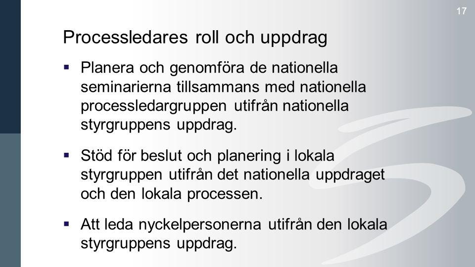 17 Processledares roll och uppdrag  Planera och genomföra de nationella seminarierna tillsammans med nationella processledargruppen utifrån nationella styrgruppens uppdrag.
