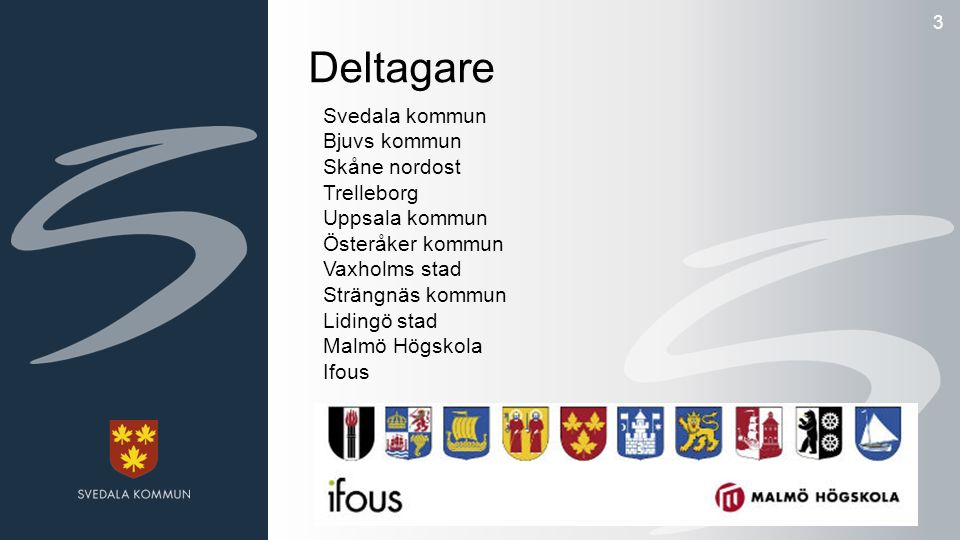 3 Deltagare Svedala kommun Bjuvs kommun Skåne nordost Trelleborg Uppsala kommun Österåker kommun Vaxholms stad Strängnäs kommun Lidingö stad Malmö Högskola Ifous