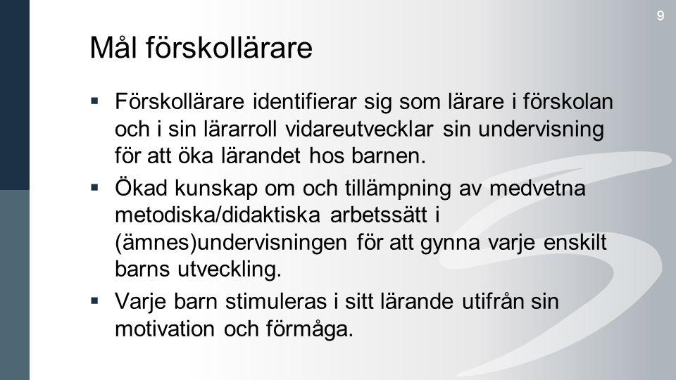Mål förskollärare 9  Förskollärare identifierar sig som lärare i förskolan och i sin lärarroll vidareutvecklar sin undervisning för att öka lärandet hos barnen.