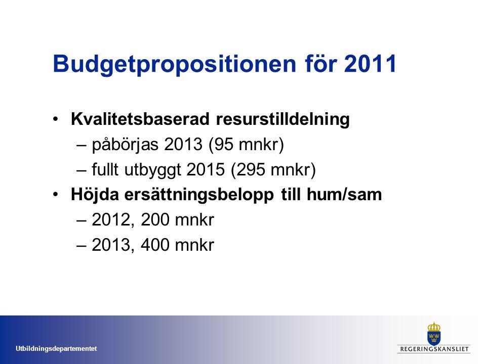 Utbildningsdepartementet Budgetpropositionen för 2011 Kvalitetsbaserad resurstilldelning –påbörjas 2013 (95 mnkr) –fullt utbyggt 2015 (295 mnkr) Höjda ersättningsbelopp till hum/sam –2012, 200 mnkr –2013, 400 mnkr