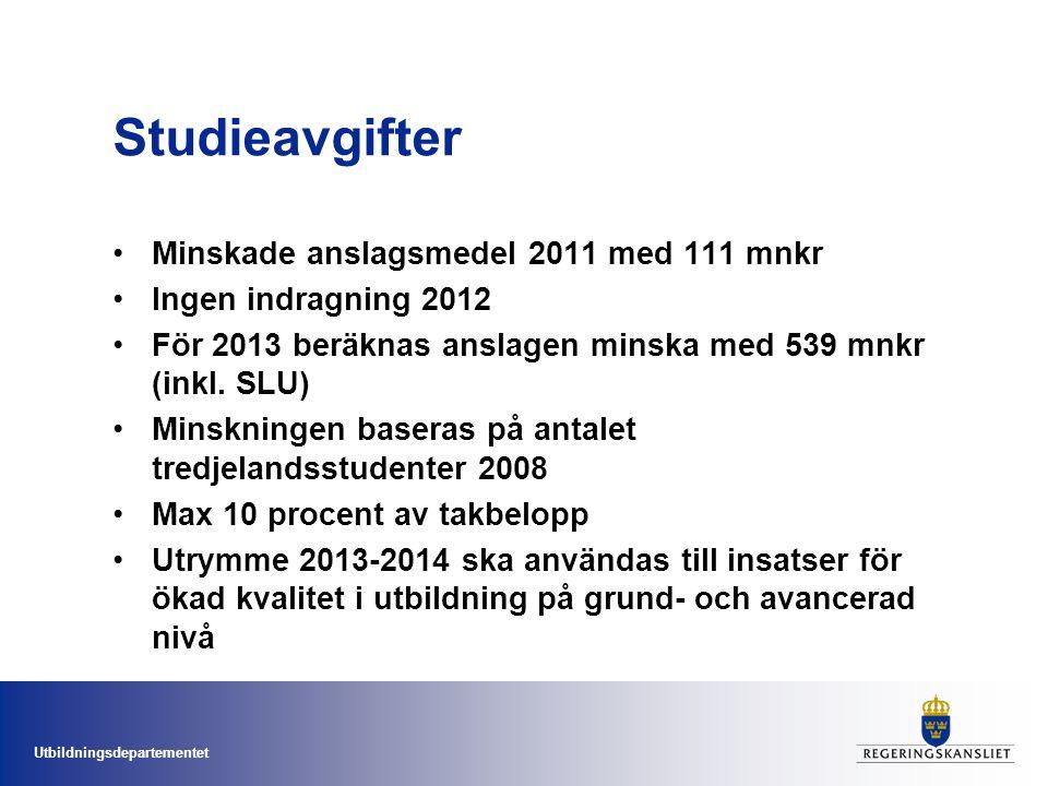 Utbildningsdepartementet Studieavgifter Minskade anslagsmedel 2011 med 111 mnkr Ingen indragning 2012 För 2013 beräknas anslagen minska med 539 mnkr (inkl.