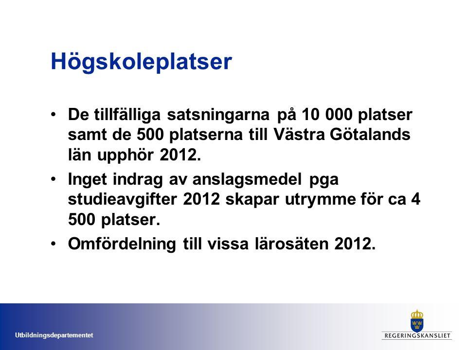 Utbildningsdepartementet Högskoleplatser De tillfälliga satsningarna på 10 000 platser samt de 500 platserna till Västra Götalands län upphör 2012.
