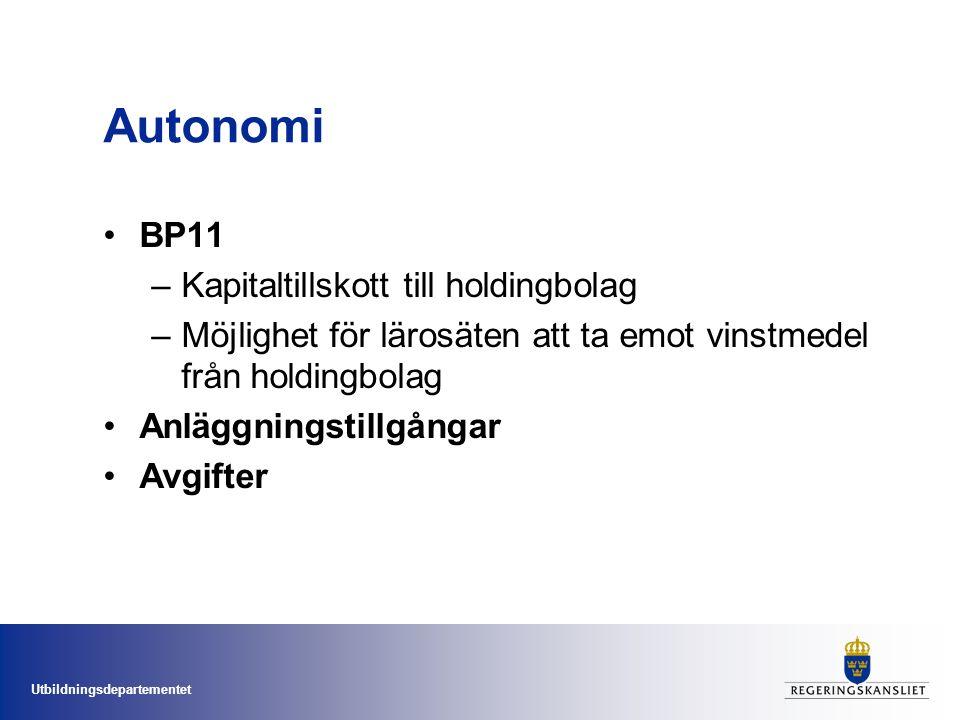 Utbildningsdepartementet Autonomi BP11 –Kapitaltillskott till holdingbolag –Möjlighet för lärosäten att ta emot vinstmedel från holdingbolag Anläggningstillgångar Avgifter