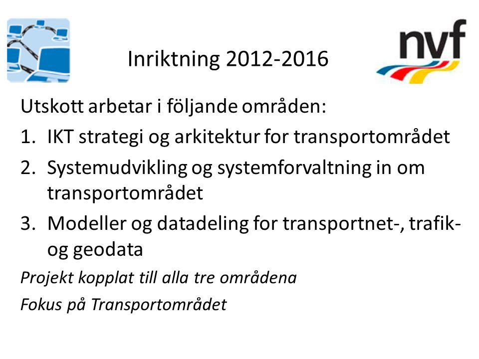 Utskott arbetar i följande områden: 1.IKT strategi og arkitektur for transportområdet 2.Systemudvikling og systemforvaltning in om transportområdet 3.Modeller og datadeling for transportnet-, trafik- og geodata Projekt kopplat till alla tre områdena Fokus på Transportområdet Inriktning 2012-2016