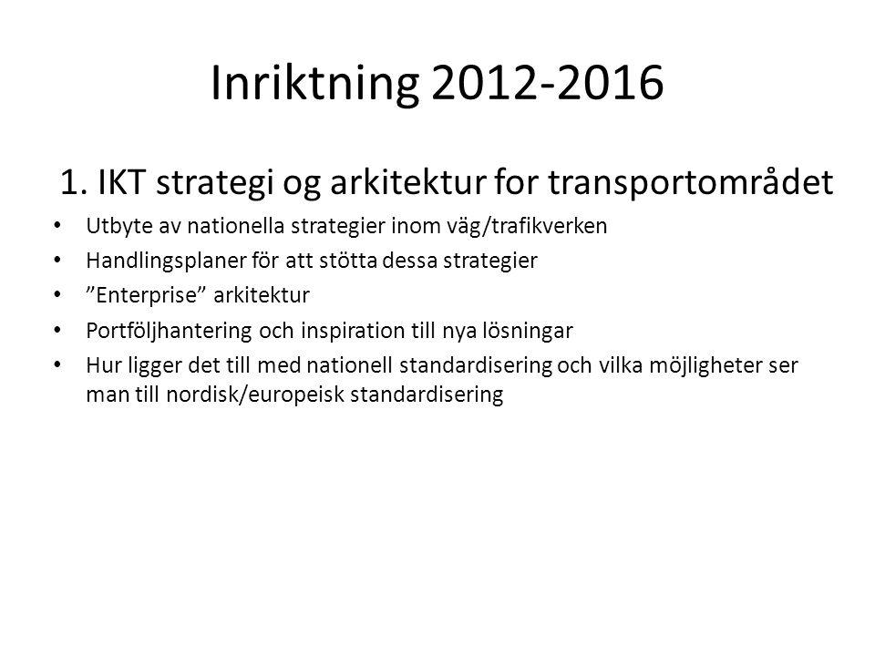 1. IKT strategi og arkitektur for transportområdet Utbyte av nationella strategier inom väg/trafikverken Handlingsplaner för att stötta dessa strategi
