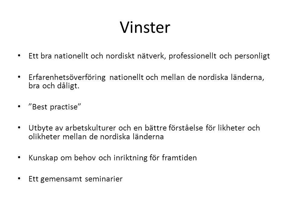 Vinster Ett bra nationellt och nordiskt nätverk, professionellt och personligt Erfarenhetsöverföring nationellt och mellan de nordiska länderna, bra och dåligt.