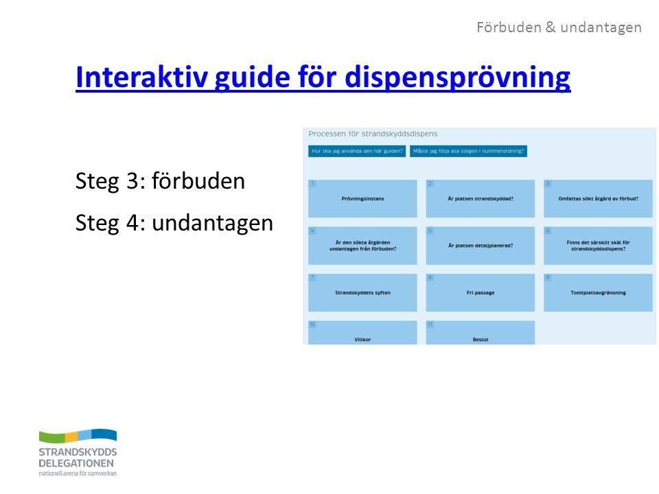 Förbuden & undantagen Interaktiv guide för dispensprövning Steg 3: förbuden Steg 4: undantagen