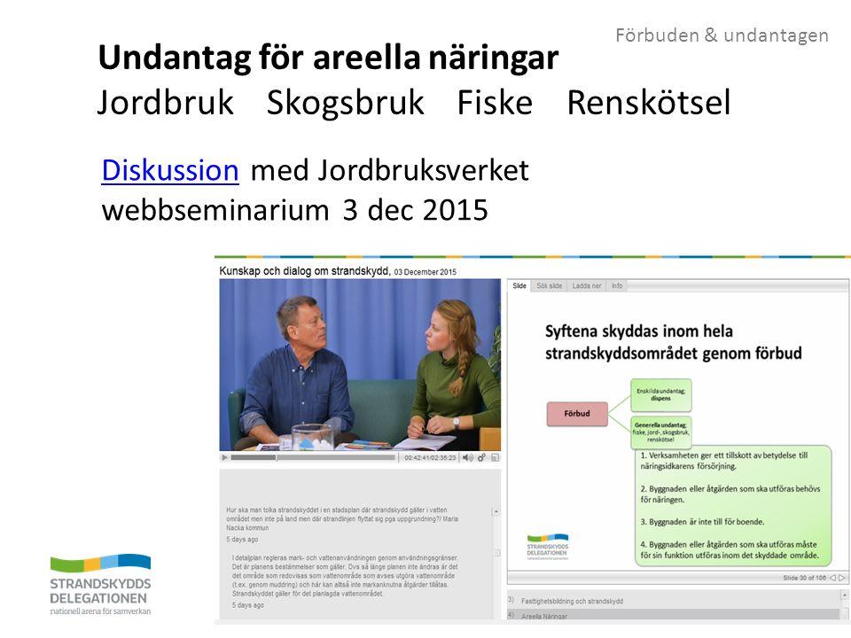 Förbuden & undantagen Undantag för areella näringar Jordbruk Skogsbruk Fiske Renskötsel DiskussionDiskussion med Jordbruksverket webbseminarium 3 dec 2015
