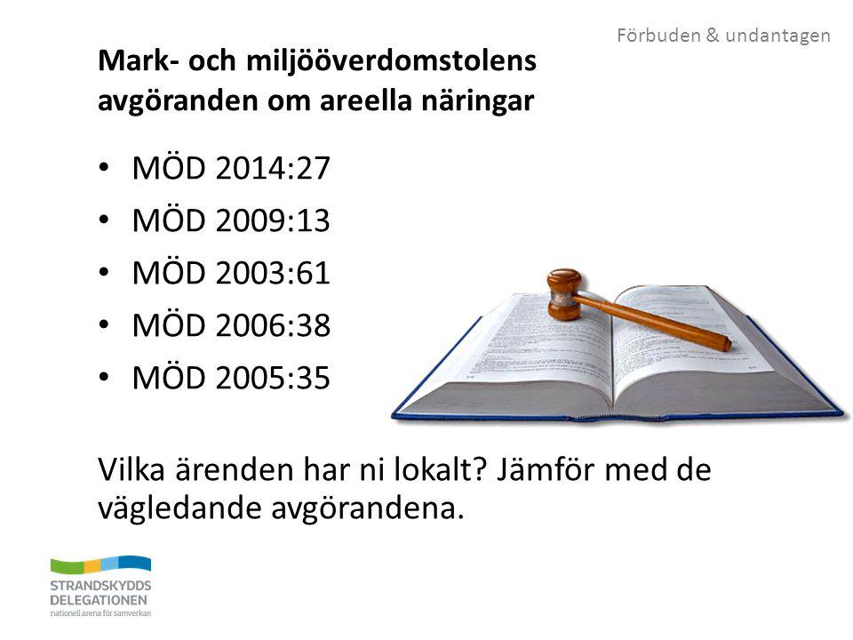 Förbuden & undantagen Mark- och miljööverdomstolens avgöranden om areella näringar MÖD 2014:27 MÖD 2009:13 MÖD 2003:61 MÖD 2006:38 MÖD 2005:35 Vilka ärenden har ni lokalt.