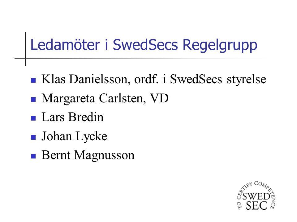 Ledamöter i SwedSecs Regelgrupp Klas Danielsson, ordf.