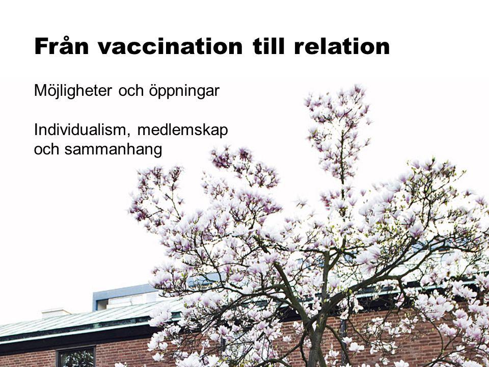 Från vaccination till relation Möjligheter och öppningar Individualism, medlemskap och sammanhang