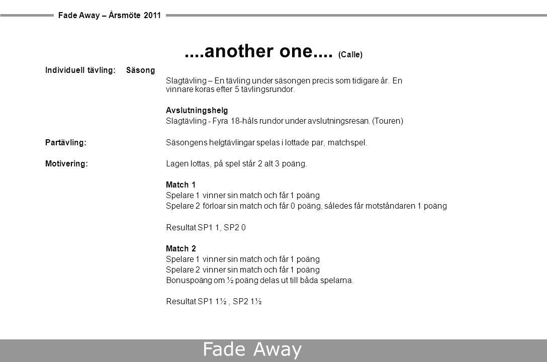 Fade Away – Årsmöte 2011 Fade Away Beslut – Spelform Individuell tävling  Matchspel singel under säsongen Partävling  Matchspel par under säsongen Säsongsavslutning  Tour slagspel