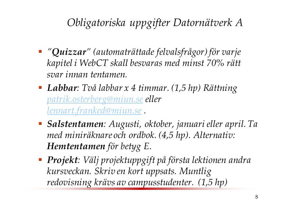 """8 Obligatoriska uppgifter Datornätverk A  """"Quizzar"""" (automaträttade felvalsfrågor) för varje kapitel i WebCT skall besvaras med minst 70% rätt svar i"""