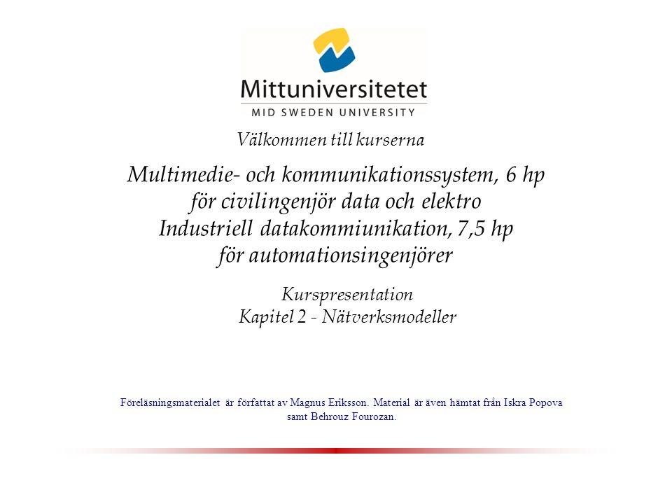 Multimedie- och kommunikationssystem, 6 hp för civilingenjör data och elektro Industriell datakommiunikation, 7,5 hp för automationsingenjörer Kurspresentation Kapitel 2 - Nätverksmodeller Föreläsningsmaterialet är författat av Magnus Eriksson.