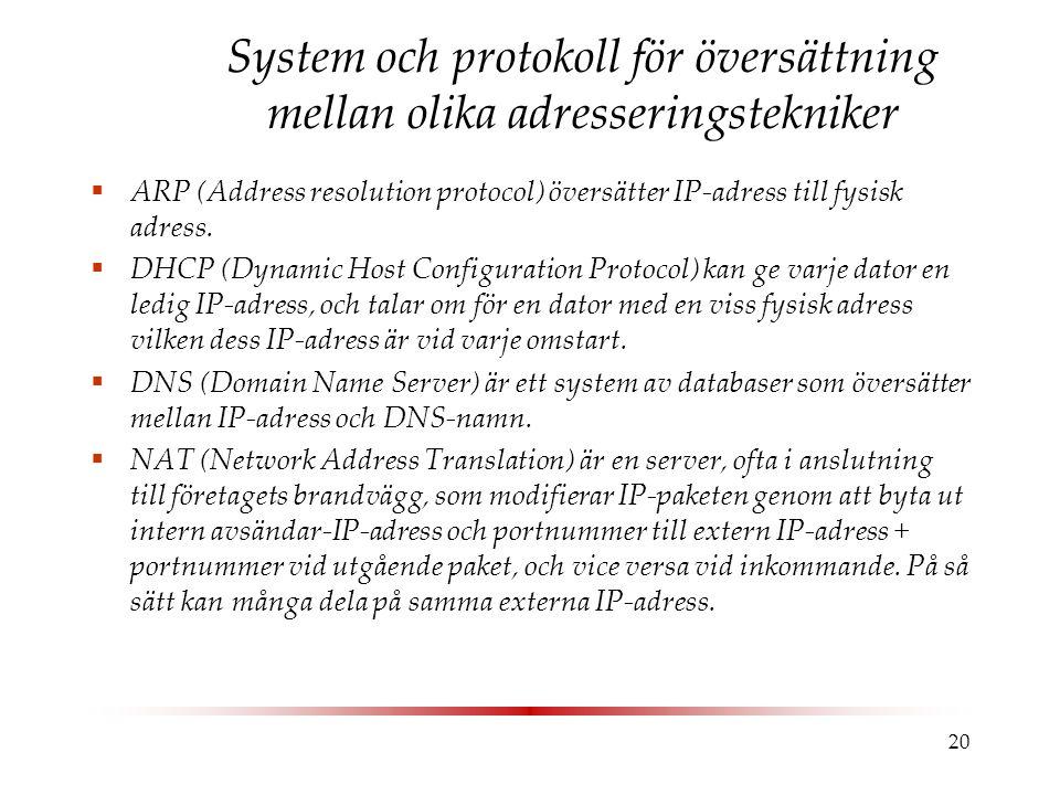 20 System och protokoll för översättning mellan olika adresseringstekniker  ARP (Address resolution protocol) översätter IP-adress till fysisk adress.