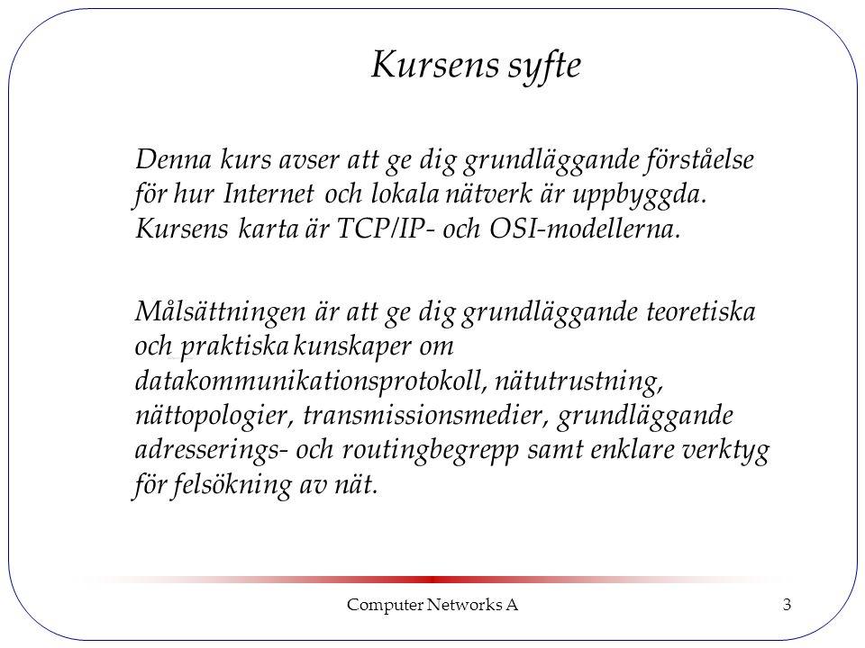Computer Networks A3 Kursens syfte Denna kurs avser att ge dig grundläggande förståelse för hur Internet och lokala nätverk är uppbyggda.
