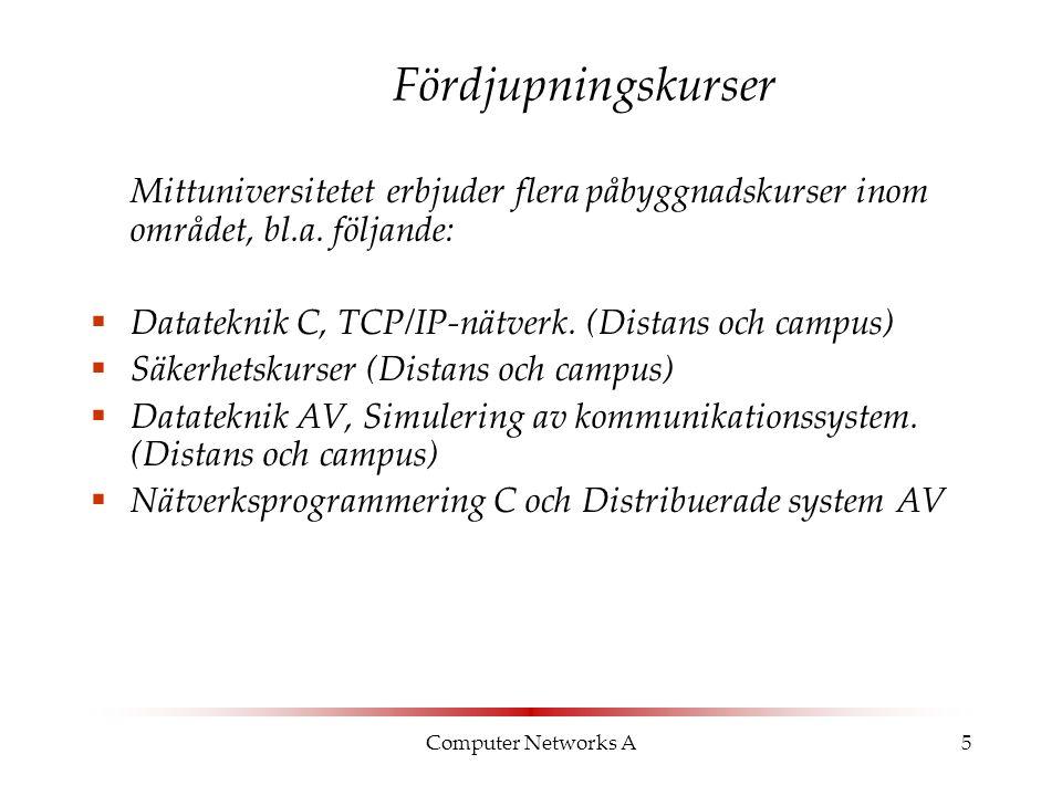 Computer Networks A6 Överlappande kurser Följande kurser överlappar till stor del med varandra, och kan därför INTE ingå i samma examen:  Datateknik A, Datornätverk (läses av Datateknikprogrammet)  Datateknik A, Nätverksteknik A (50% överlapp) – CISCO-certifiering, läses av nätverksdriftsprogrammet  Datateknik B, Multimedie- och kommunikationssystem  Datateknik B, Industriell datakommunikation