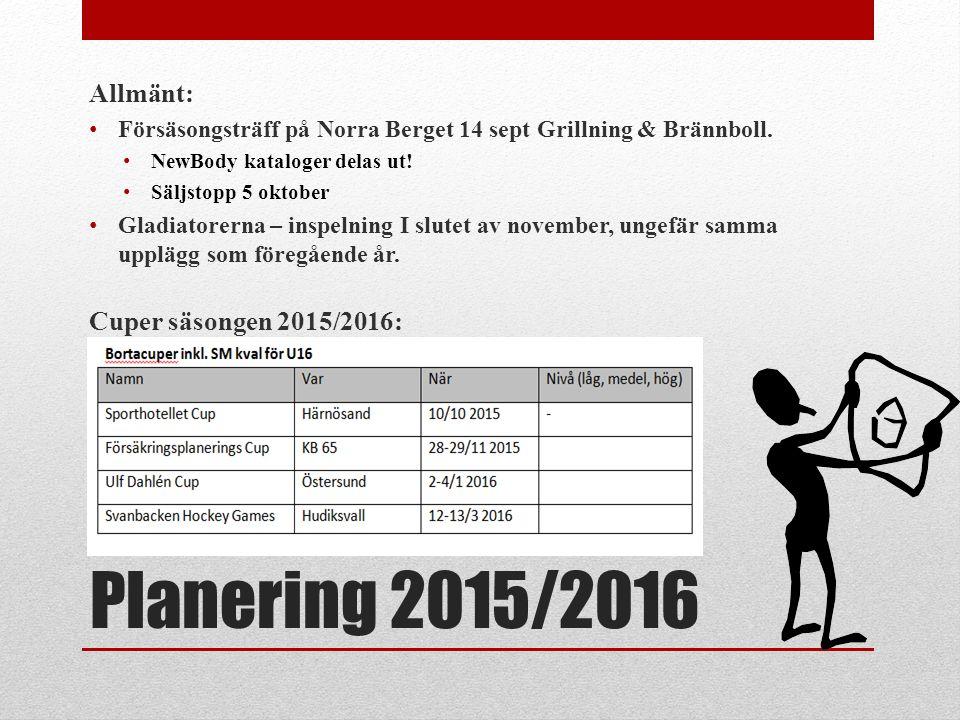 Planering 2015/2016 Allmänt: Försäsongsträff på Norra Berget 14 sept Grillning & Brännboll. NewBody kataloger delas ut! Säljstopp 5 oktober Gladiatore