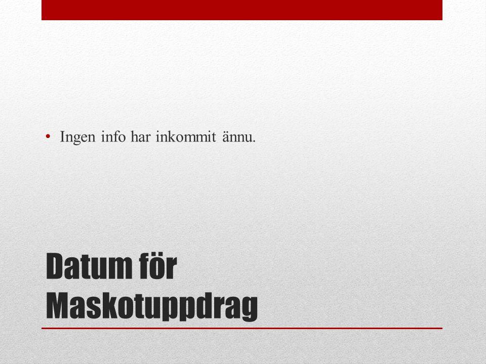 Datum för Maskotuppdrag Ingen info har inkommit ännu.