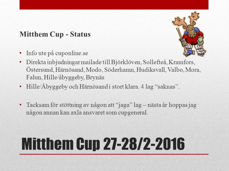 Mitthem Cup 27-28/2-2016 Mitthem Cup - Status Info ute på cuponline.se Direkta inbjudningar mailade till Björklöven, Sollefteå, Kramfors, Östersund, Härnösand, Modo, Söderhamn, Hudiksvall, Valbo, Mora, Falun, Hille/åbyggeby, Brynäs Hille/Åbyggeby och Härnösand i stort klara.