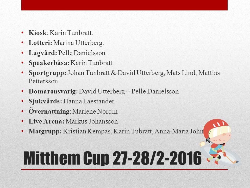 Mitthem Cup 27-28/2-2016 Kiosk: Karin Tunbratt. Lotteri: Marina Utterberg. Lagvärd: Pelle Danielsson Speakerbåsa: Karin Tunbratt Sportgrupp: Johan Tun