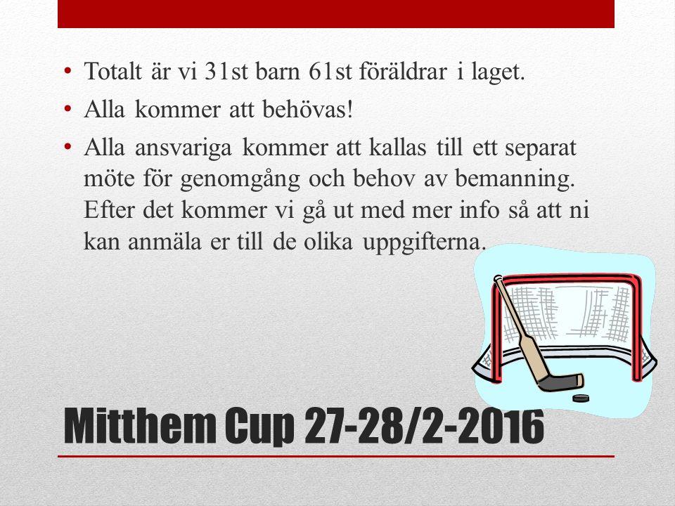 Mitthem Cup 27-28/2-2016 Totalt är vi 31st barn 61st föräldrar i laget. Alla kommer att behövas! Alla ansvariga kommer att kallas till ett separat möt