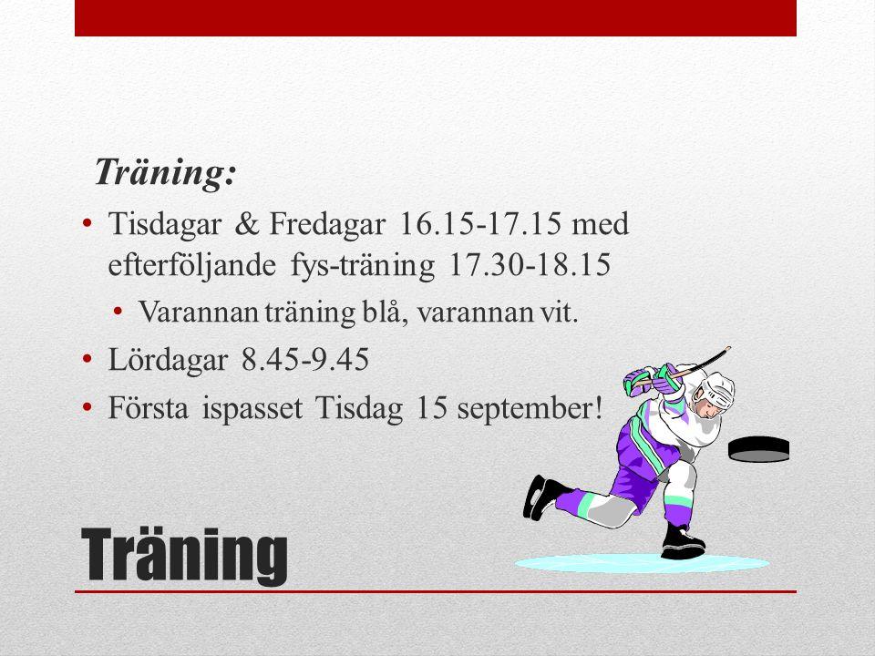Träning Träning: Tisdagar & Fredagar 16.15-17.15 med efterföljande fys-träning 17.30-18.15 Varannan träning blå, varannan vit. Lördagar 8.45-9.45 Förs