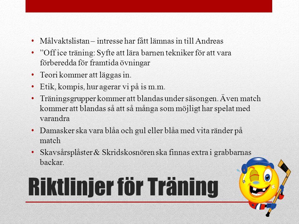 """Riktlinjer för Träning Målvaktslistan – intresse har fått lämnas in till Andreas """"Off ice träning: Syfte att lära barnen tekniker för att vara förbere"""