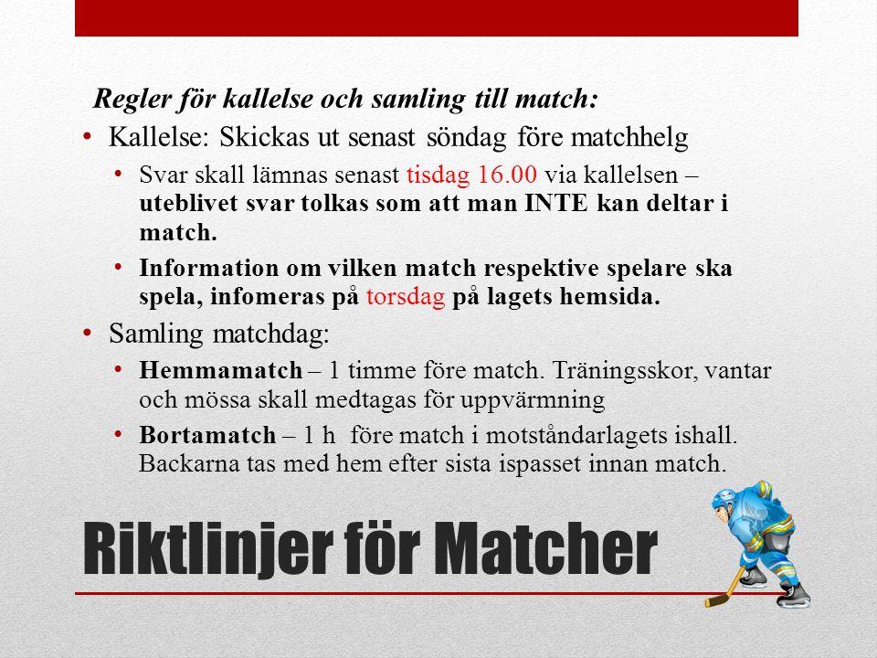 Riktlinjer för Matcher Strävan är att alla ska ha spelat lika många matcher vid säsongens slut VI spelar med två lag med ambitionen 15+1 varje match.