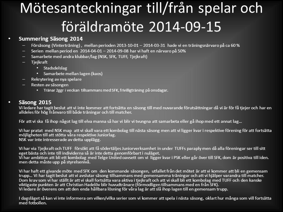 Mötesanteckningar till/från spelar och föräldramöte 2014-09-15 Summering Säsong 2014 – Försäsong (Vinterträning), mellan perioden 2013-10-01 – 2014-03-31 hade vi en träningsnärvaro på ca 60 % – Serien mellan period en 2014-04-01 – 2014-09-08 har vi haft en närvaro på 50% – Samarbete med andra klubbar/lag (NSK, SFK, TUFF, Tjejkraft) – Tjejkraft Stadsdelslag Samarbete mellan lagen (kaos) – Rekrytering av nya spelare – Resten av säsongen Tränar 2ggr i veckan tillsammans med SFK, frivilligträning på onsdagar.
