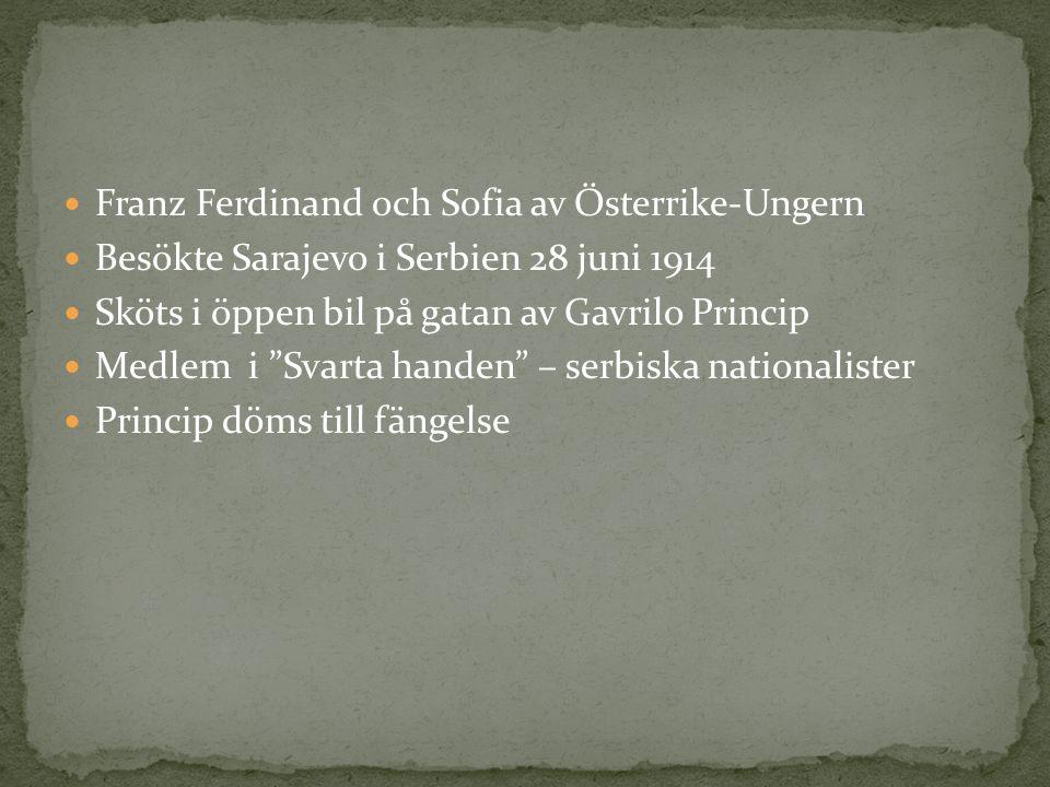 Franz Ferdinand och Sofia av Österrike-Ungern Besökte Sarajevo i Serbien 28 juni 1914 Sköts i öppen bil på gatan av Gavrilo Princip Medlem i Svarta handen – serbiska nationalister Princip döms till fängelse