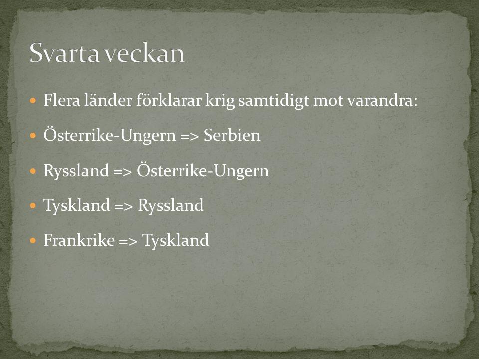 Flera länder förklarar krig samtidigt mot varandra: Österrike-Ungern => Serbien Ryssland => Österrike-Ungern Tyskland => Ryssland Frankrike => Tyskland