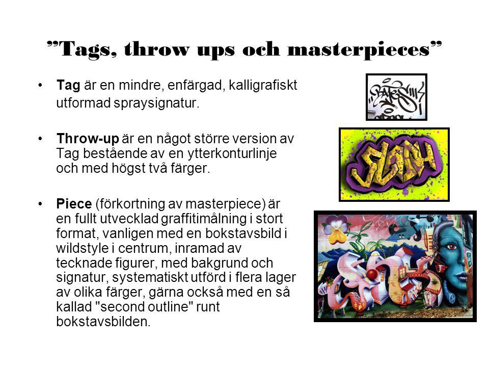 Tags, throw ups och masterpieces Tag är en mindre, enfärgad, kalligrafiskt utformad spraysignatur.