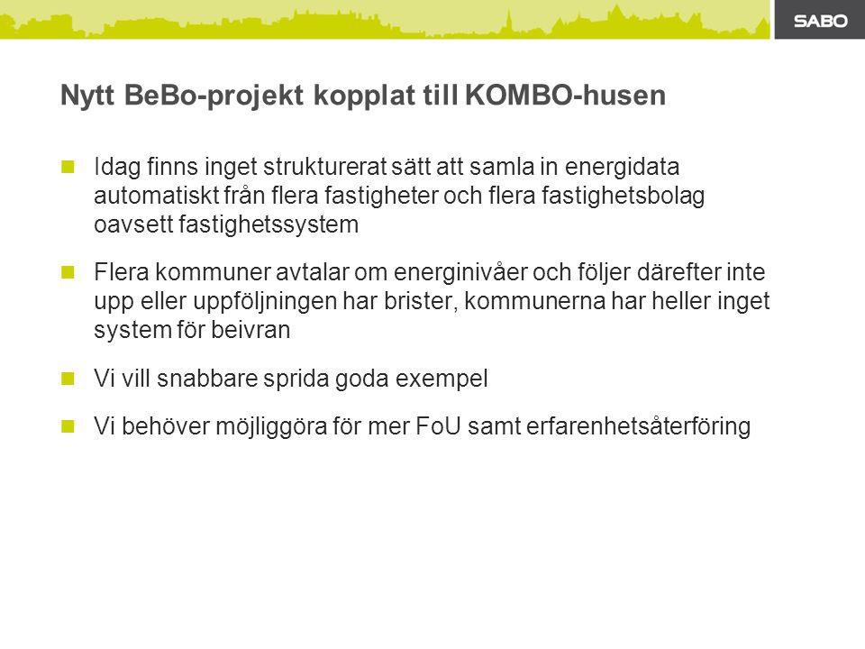 PILOT: Uppföljning av SABOs typhus Energiprestanda 60 kWh/m 2 i Enköping Likadana typhus över hela landet Uppföljning enligt Sveby Ett pilotprojekt med 5 byggnader genomförs för att testa metodik och utgöra underlag för att kunna genomföra ett större antal projekt Typhusen är mycket noggrant definierade ekonomiskt Möjligheter: Upp till ca 50 lika typhus (för FoU) SABOs större typhus kan också läggas in (vi får med de stora entreprenörerna) Lägga in flera olika typer av projekt i systemet
