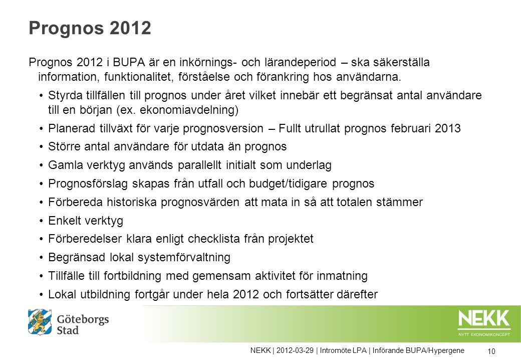 Prognos 2012 Prognos 2012 i BUPA är en inkörnings- och lärandeperiod – ska säkerställa information, funktionalitet, förståelse och förankring hos användarna.